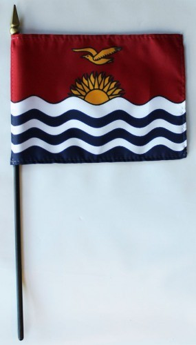 "Kiribati 4"" x 6"" Mounted Flags"