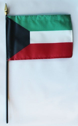 "Kuwait 4"" x 6"" Mounted Flags"