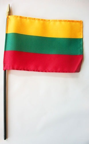 "Lithuania 4"" x 6"" Mounted Flags"