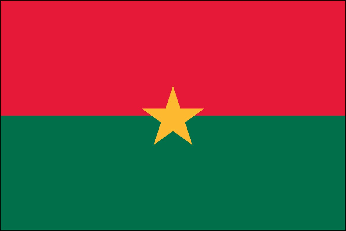 Burkina Faso 2ft x 3ft  Indoor Polyester Flag