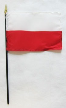 "Poland 4"" x 6"" Mounted Handheld Stick Flags"