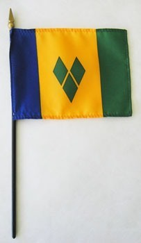 "Saint Vincent & Grenadines 4"" x 6"" Mounted Flags"
