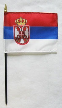 "Serbia 4"" x 6"" Mounted Flags"