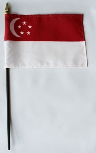 "Singapore 4"" x 6"" Mounted Flags"