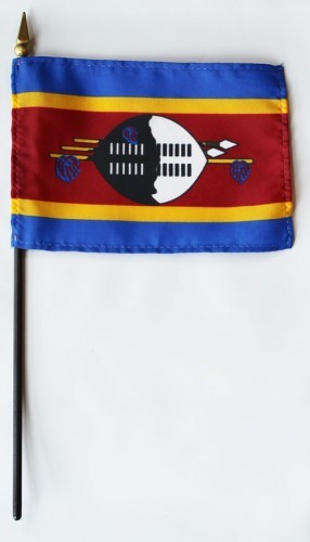 "Swaziland 4"" x 6"" Mounted Flags"