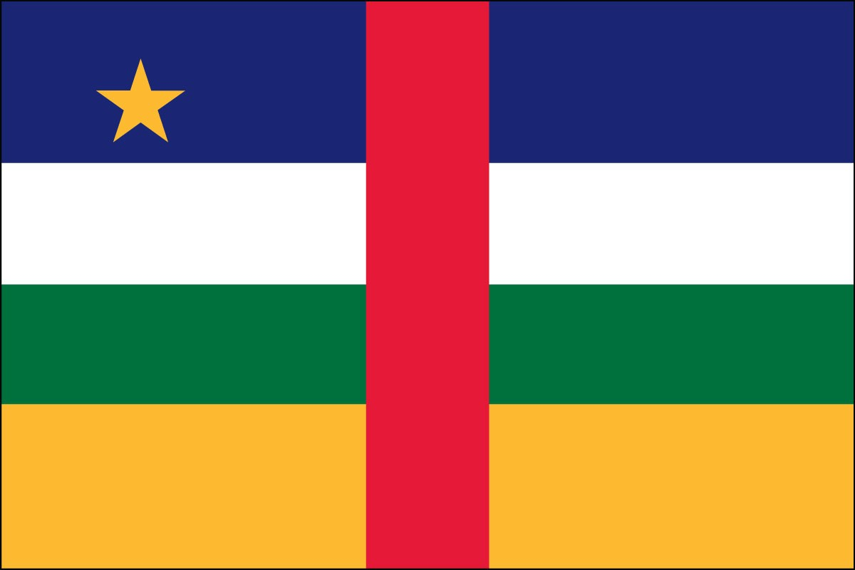 Central African Rep 2' x 3' Indoor Polyester Flag