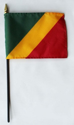 "Congo Republic 4"" x 6"" Mounted Flags"