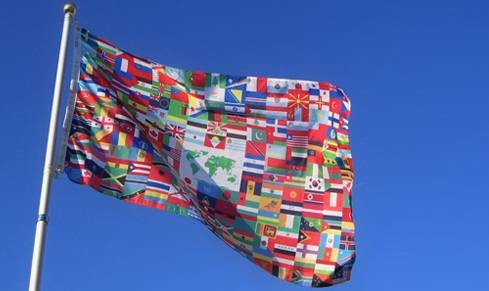"The World Flag High Quality Outdoor 8"" x 12"" Stick Flag"