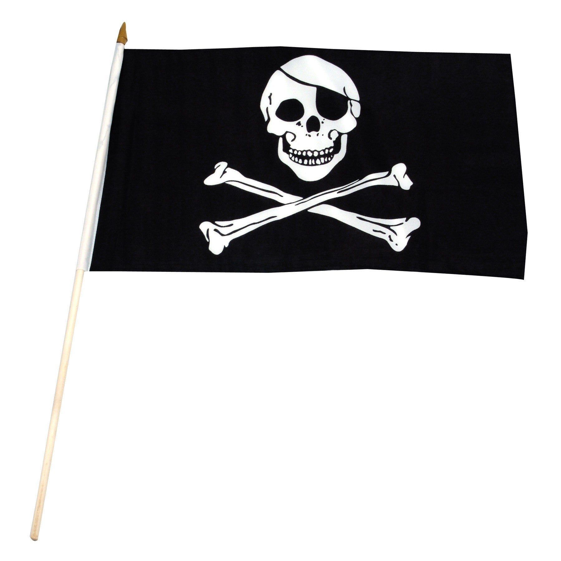 "Jolly Roger-Pirate with black eye patch Mounted 12"" x 18"" Flags"