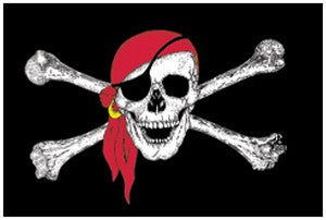 Jolly Roger-Pirate w- Red Bandana 3' x 5' Indoor Flags