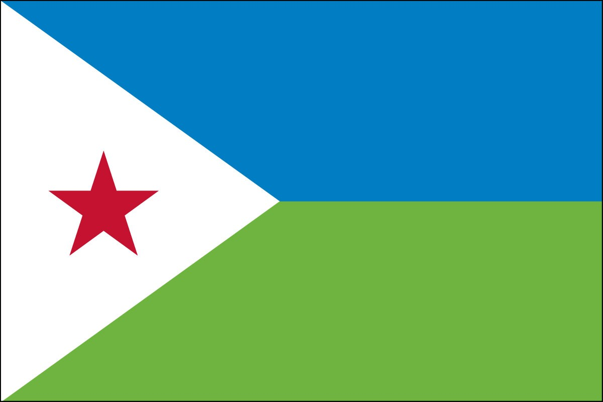Djibouti 2' x 3' Indoor Polyester Flag