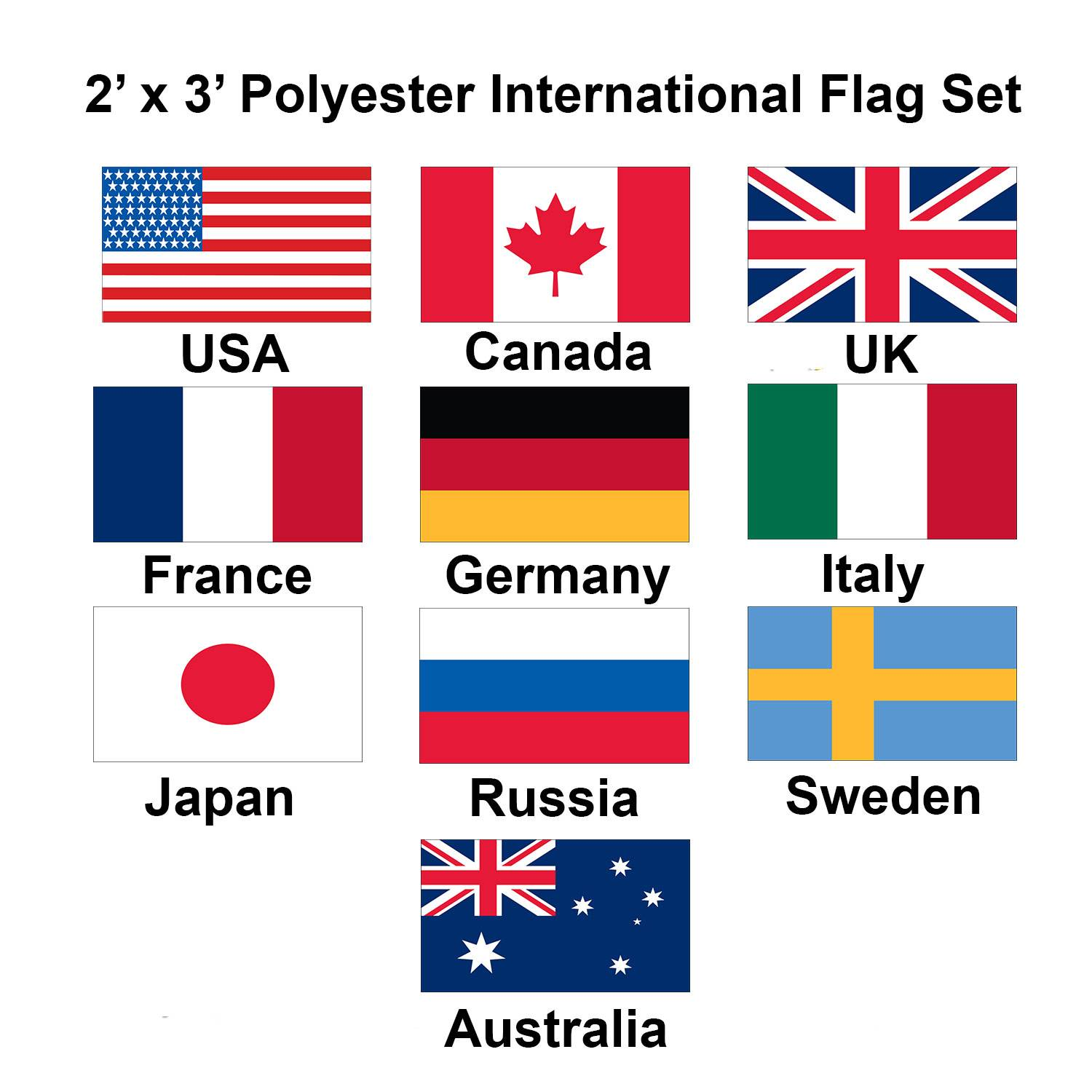 (2x3ft) Set of 10 International Flags - Set 1