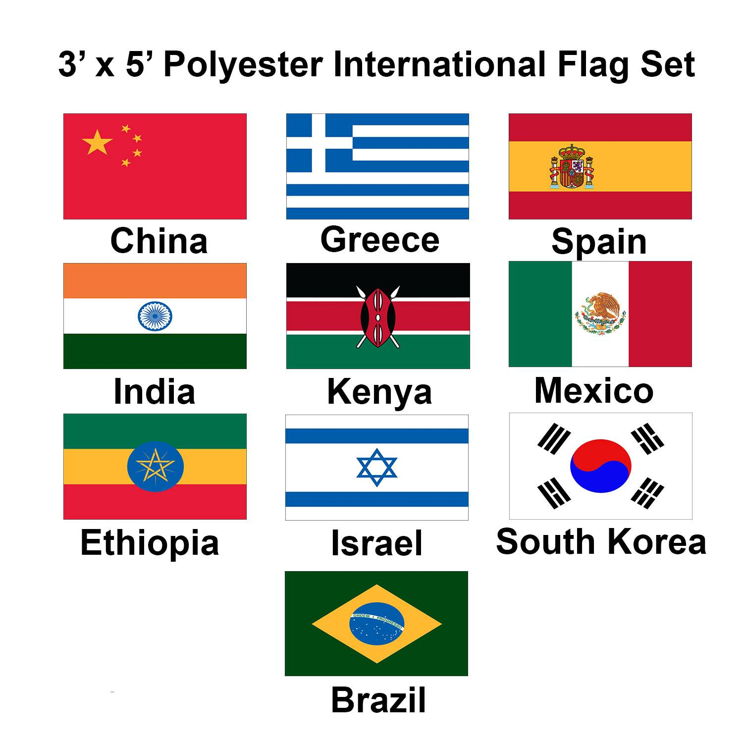 (3x5ft) Set of 10 International Flags - Set 2