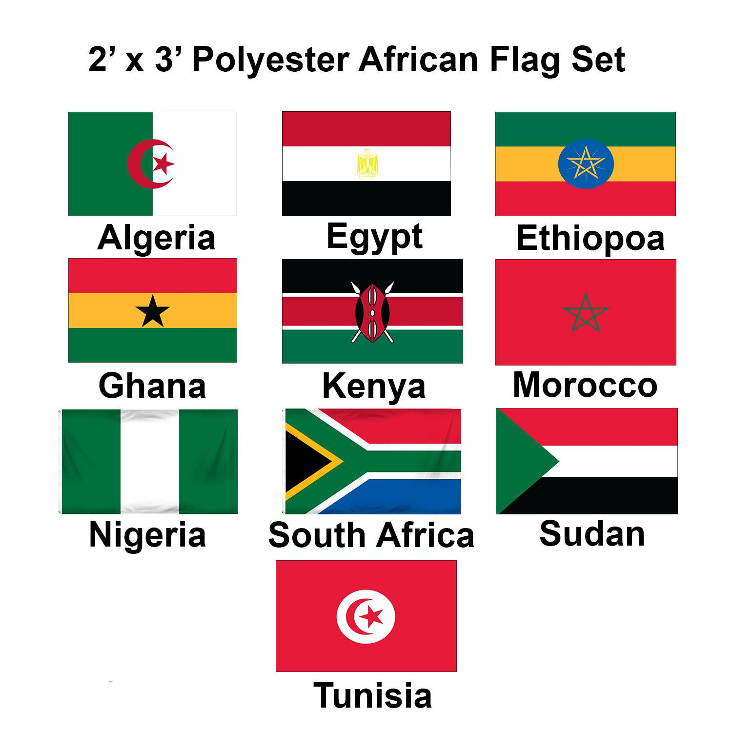 (2x3ft) Set of 10 African Flags - Set 1