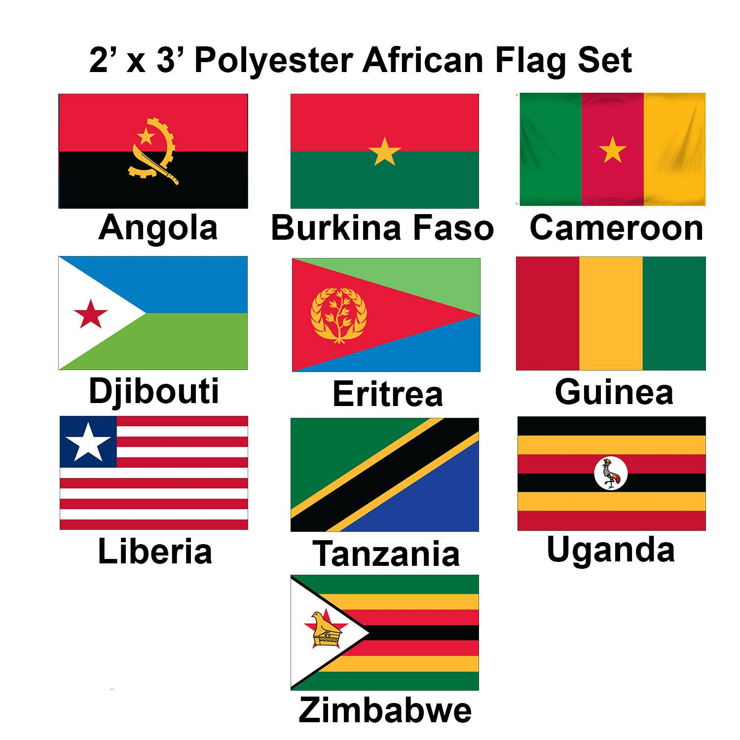 (2x3ft) Set of 10 African Flags - Set 2