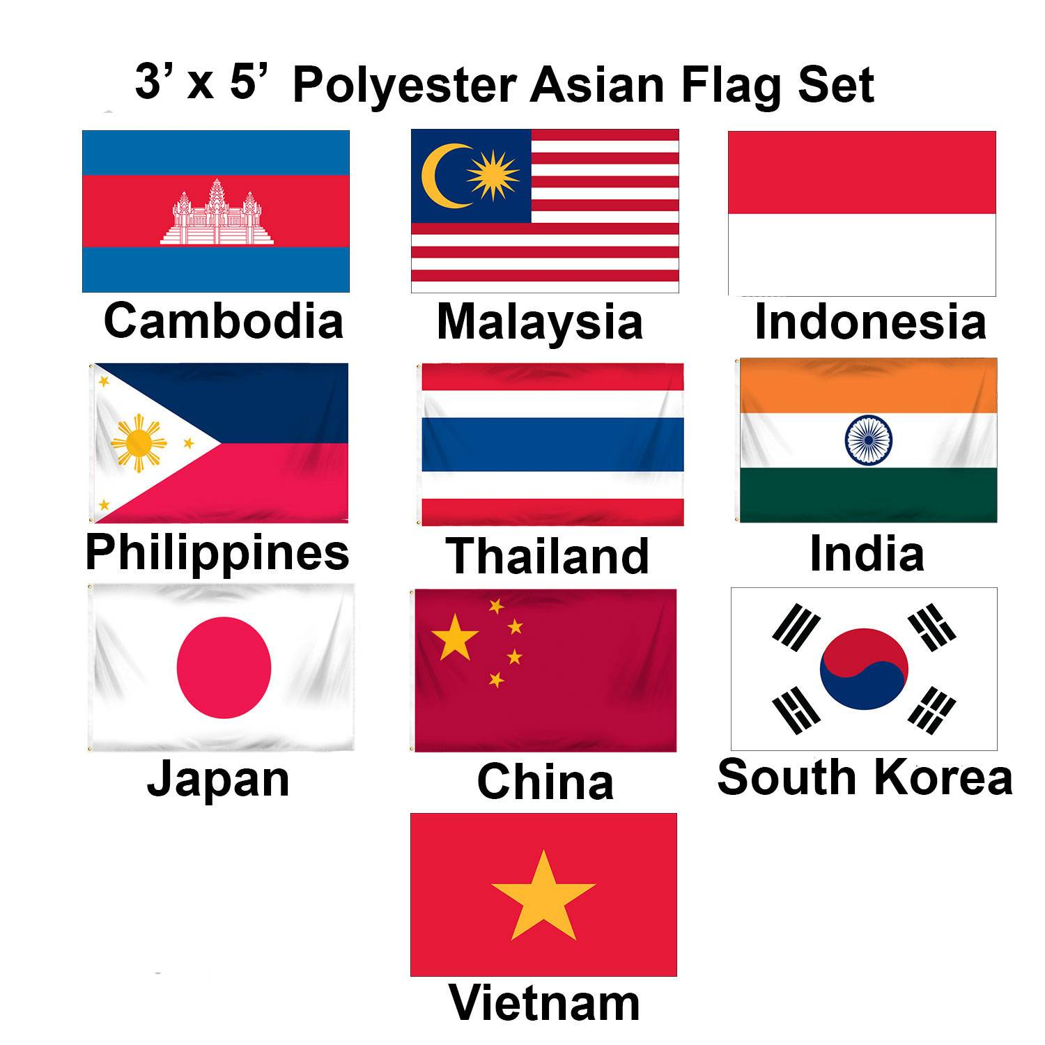 (3x5ft) Set of 10 Asian Flags - Set 1