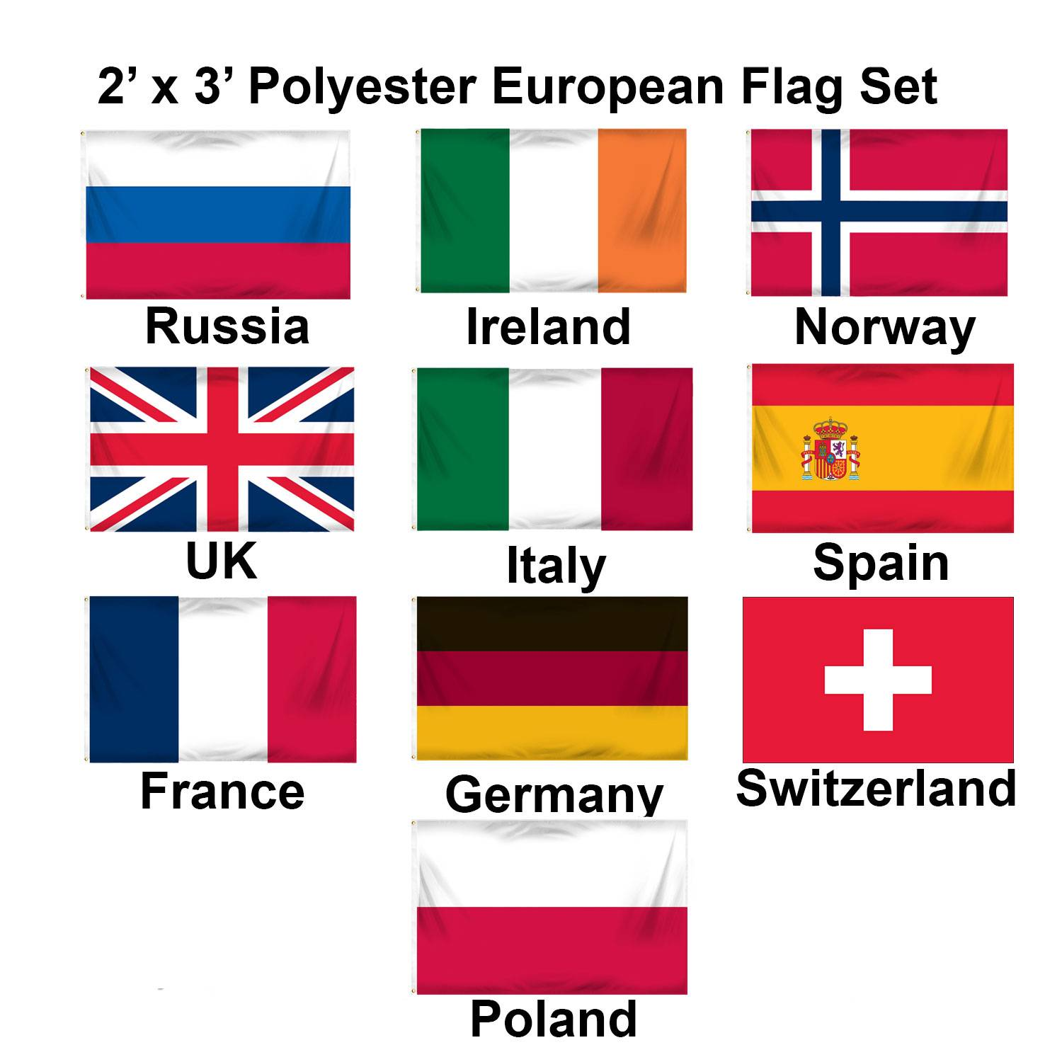 (2x3ft) Set of 10 European Polyester Flags - Set 1