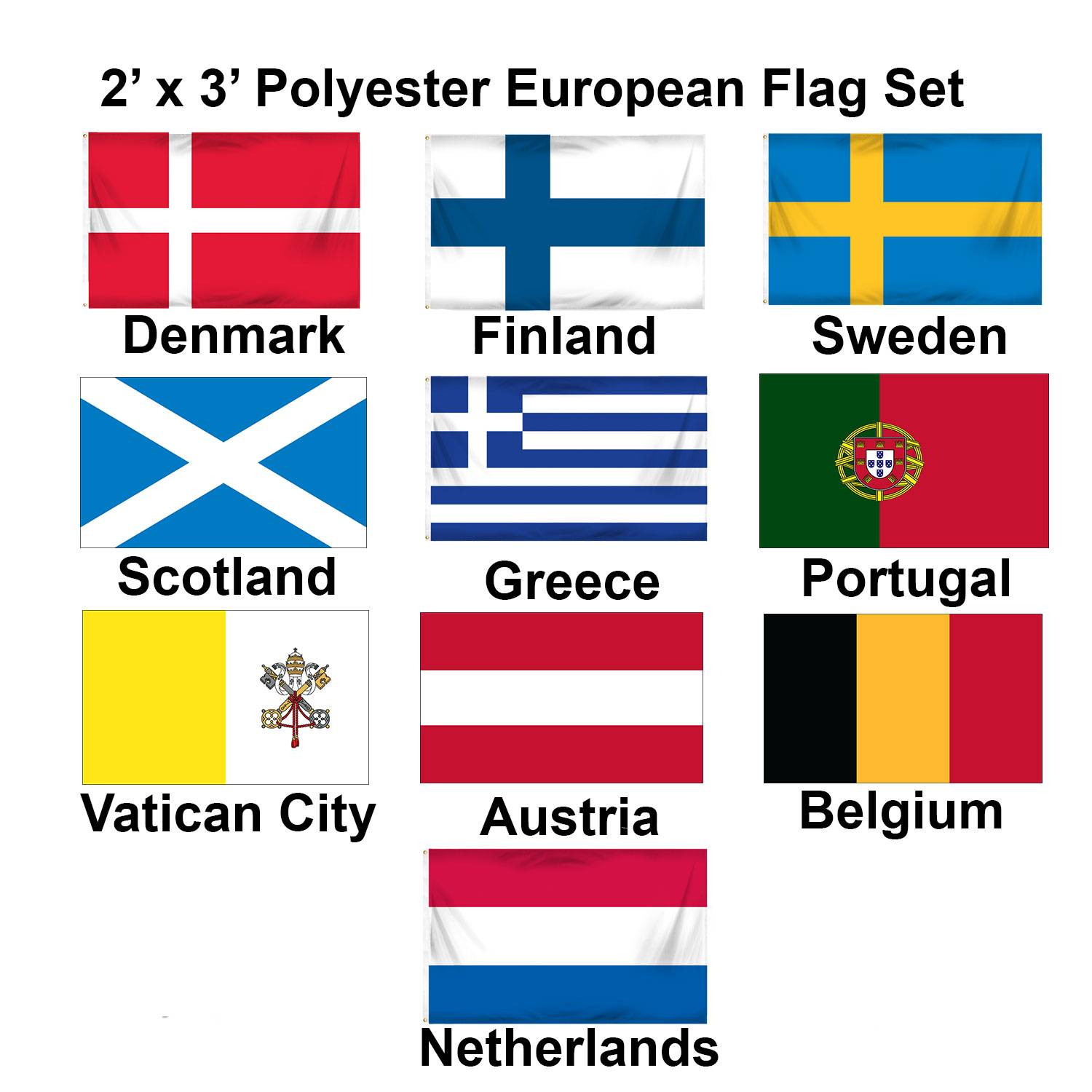 (2x3ft) Set of 10 European Flags - Set 2