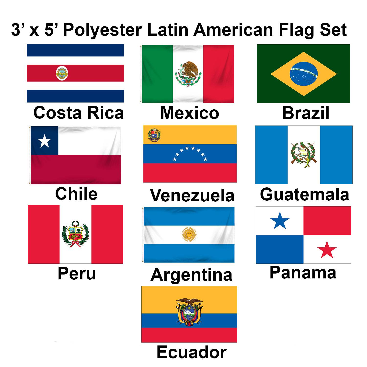 Set of 10 Latin American Flags - (3x5ft) - Set 1