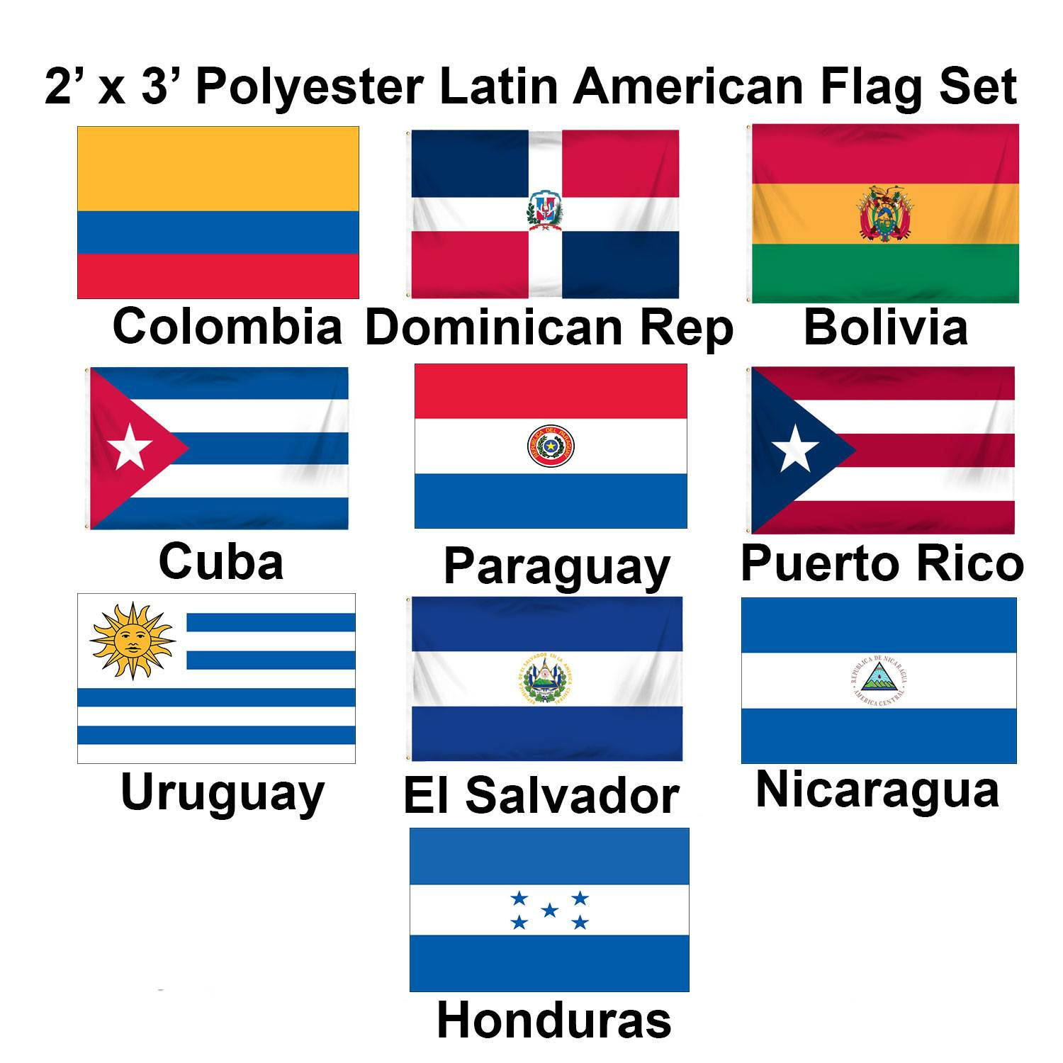(2x3ft) Set of 10 Latin American Polyester Flags - Set 2