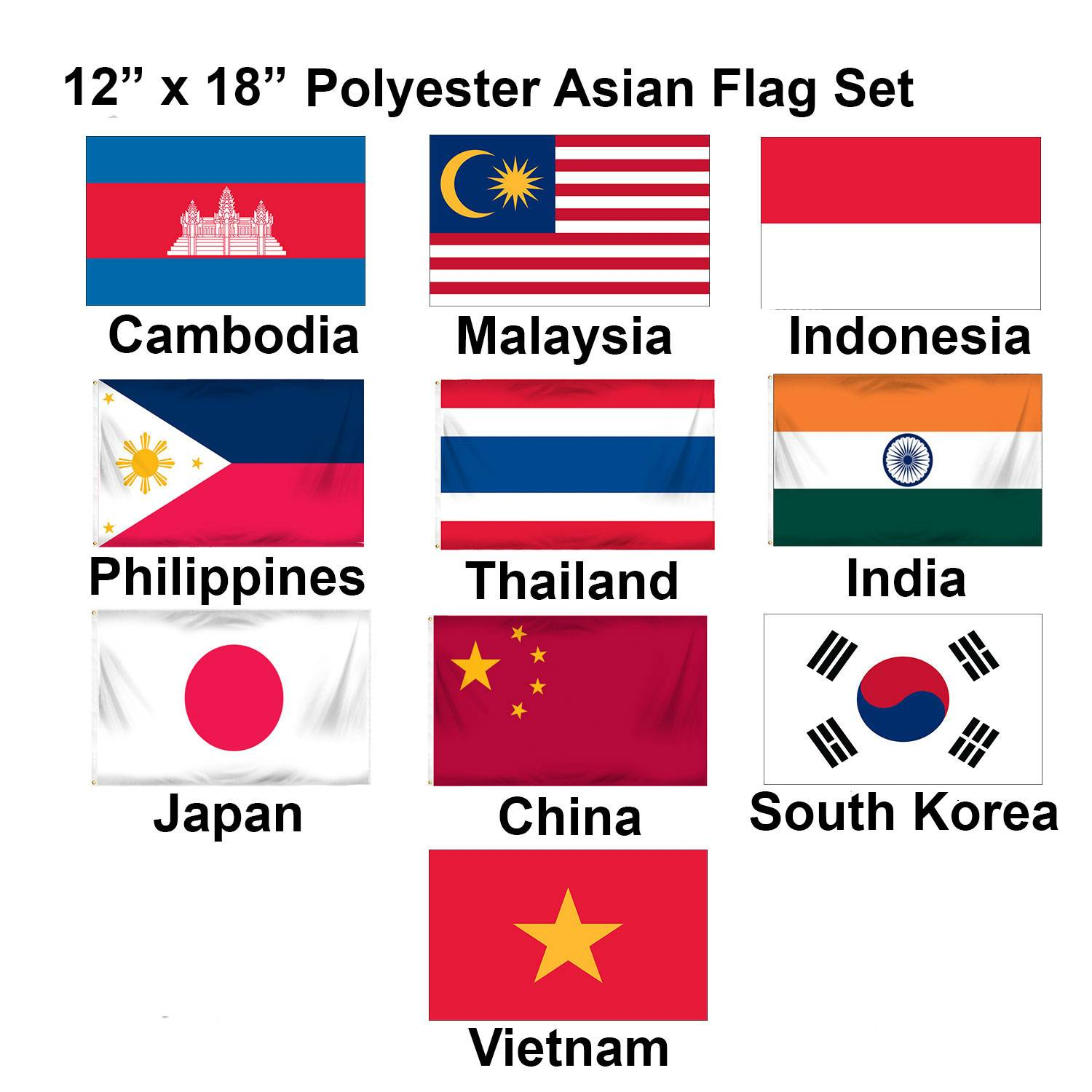 "Asian 12"" x 18"" Mounted Flags - Set 1"