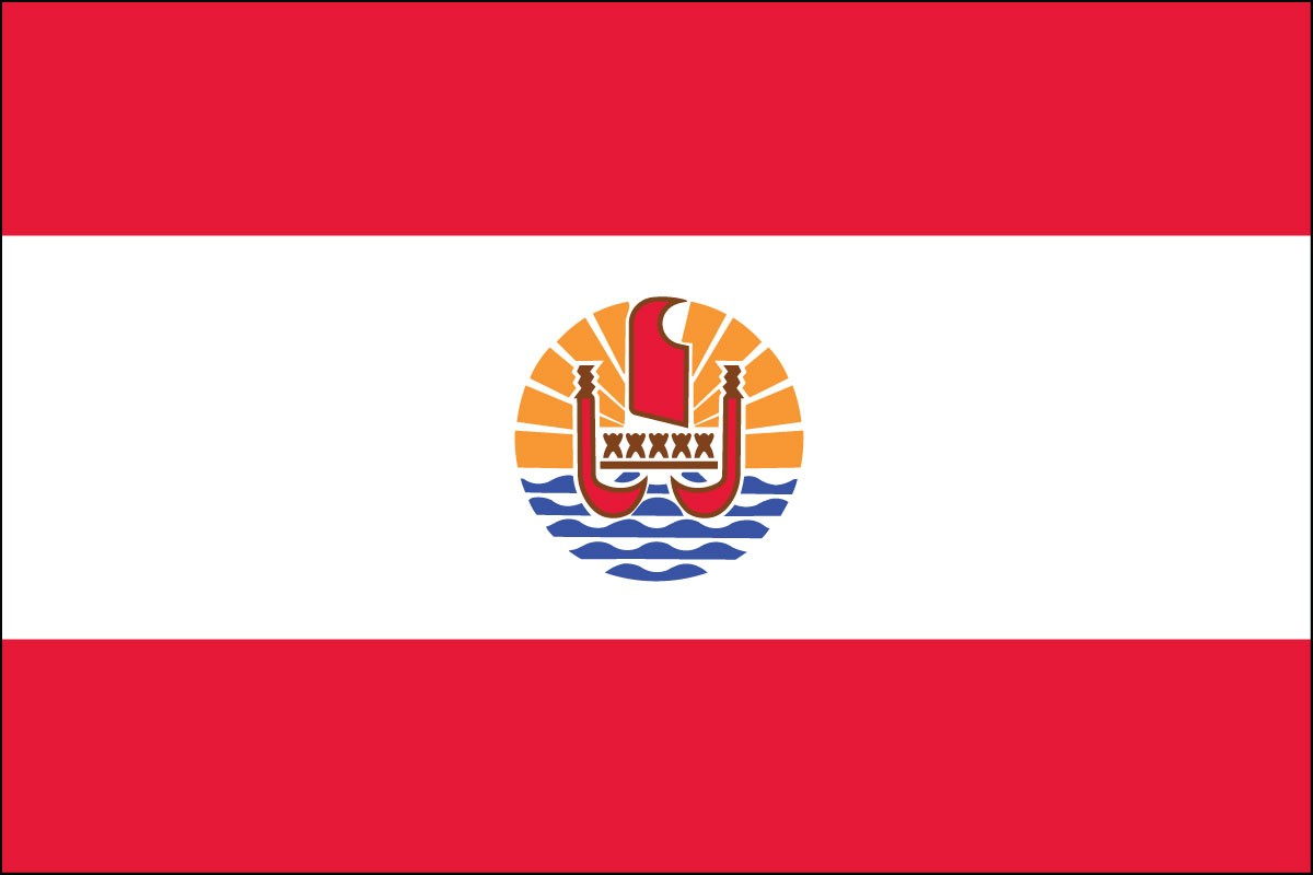 "French Polynesia 12"" x 18"" Mounted Flag"
