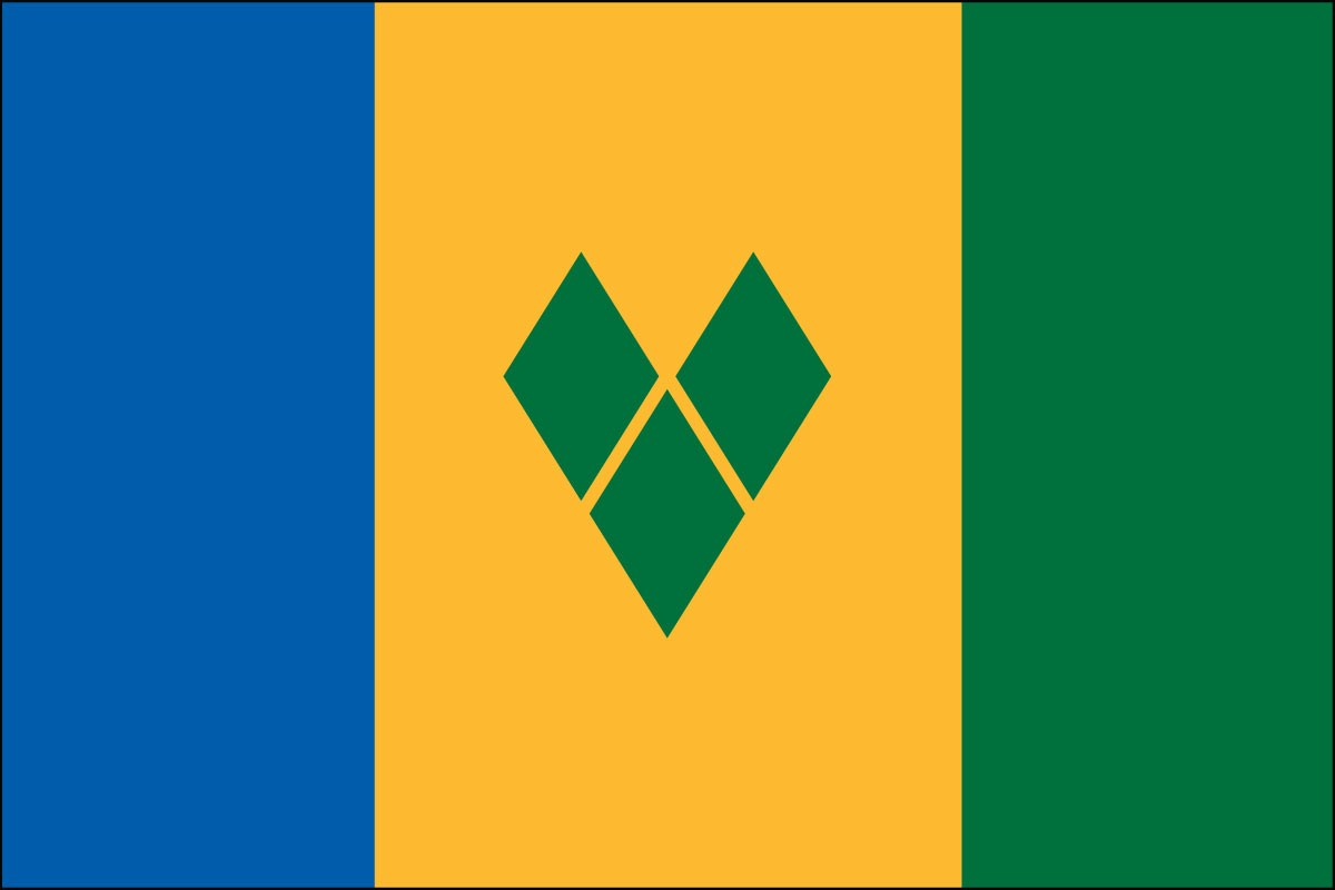 Saint Vincent & Grenadines 2' x 3' Indoor Polyester Flag
