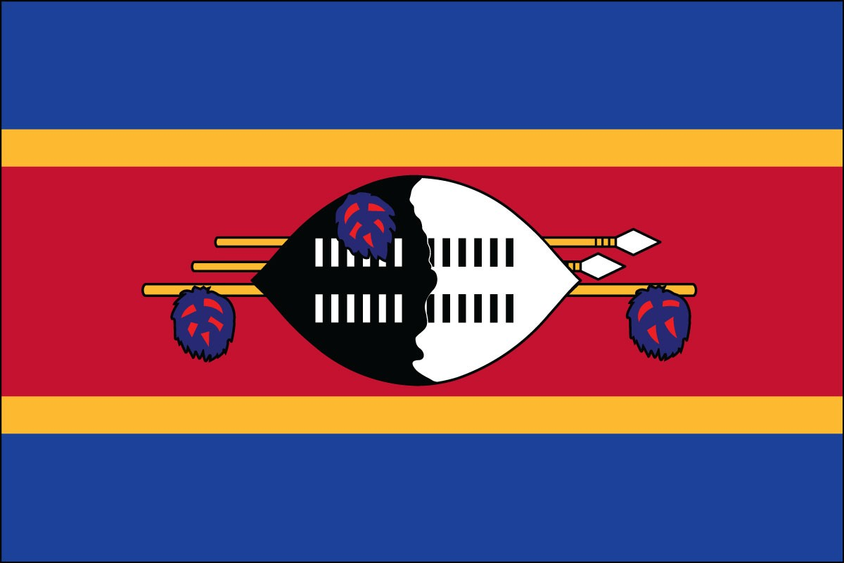 Swaziland 2' x 3' Indoor Polyester Flag