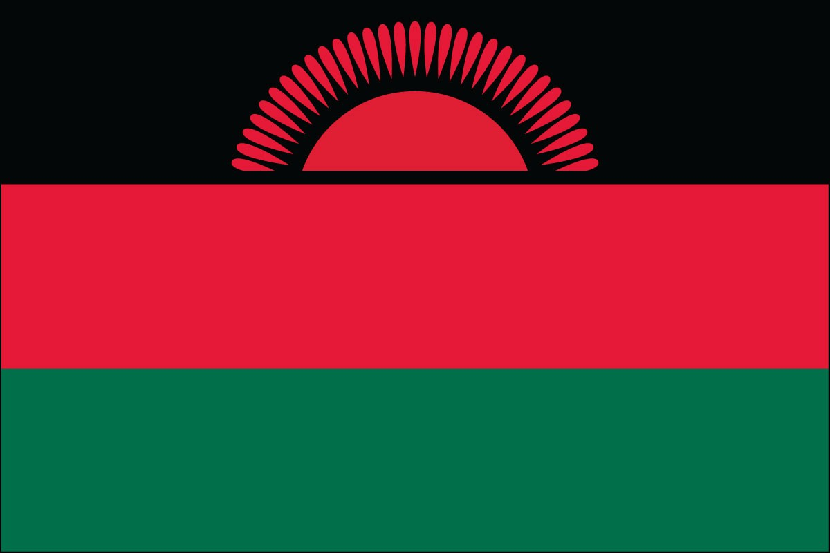 Malawi 3' x 5' Indoor Polyester Flag