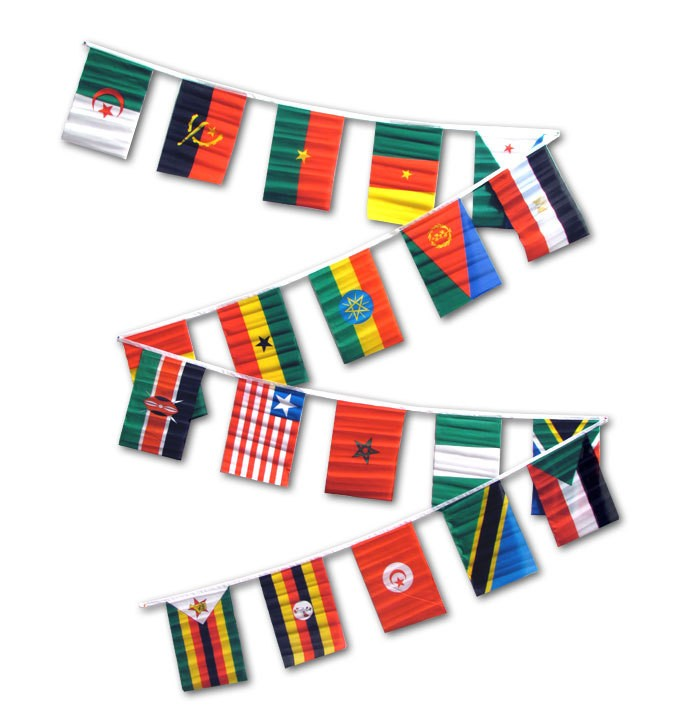 String Flag Set of 20 African Country Flags 30ft