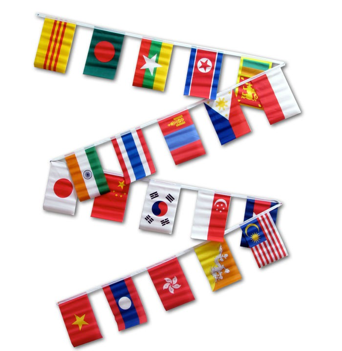 String Flags - Set of 20 Asian Flags 30ft