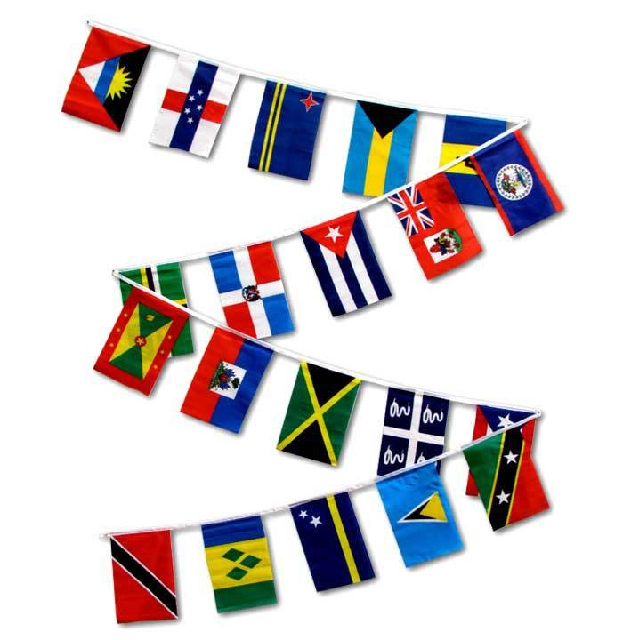 String Flags - Set of 20 Caribbean Country Flags 30ft