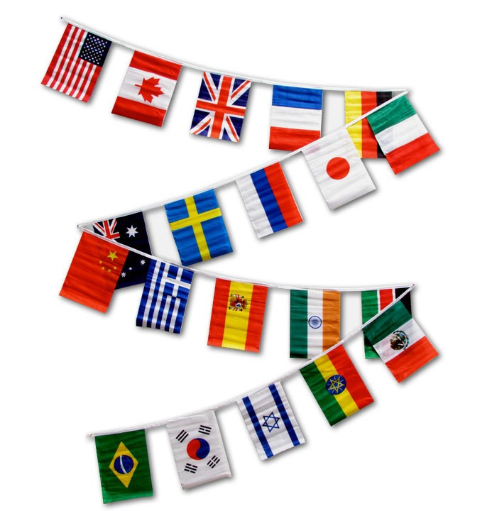 30ft String Flag Set of 20 International Country Flags
