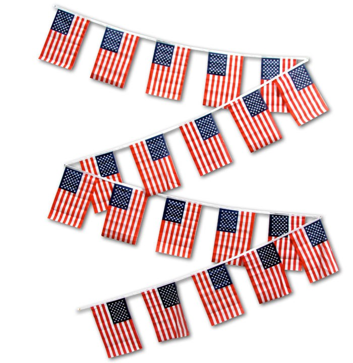 String Flag Set of 20 USA String Flags 30ft