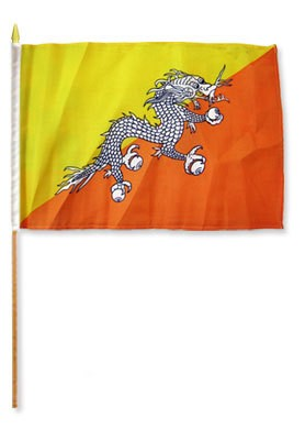 "Bhutan 12"" x 18"" Mounted Country Flag"