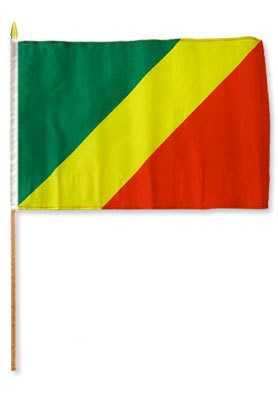 "Congo Republic 12"" x 18"" Mounted Flag"