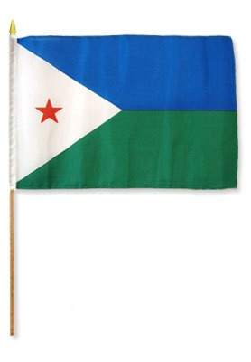 "Djibouti 12"" x 18"" Mounted Flag"