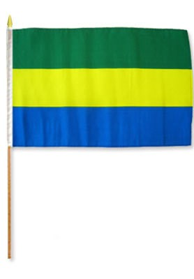 "Gabon 12"" x 18"" Mounted Flag"