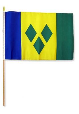 "Saint Vincent & Grenadines 12"" x 18"" Mounted Flag"