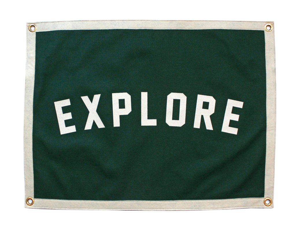 """Explore"" Camp Flag Quote Felt Flags, Home Gallery, Wall Art, Classroom Decor"