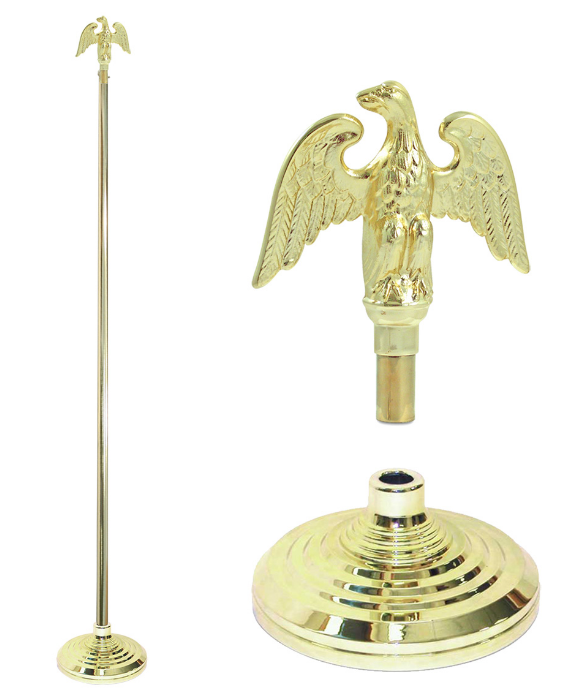 7' Foot Gold Finished Flag Pole With Stand and Eagle Ornament