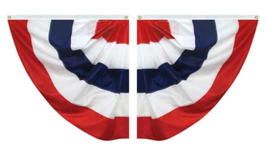 Pleated Patriotic USA Nylon Half Fans 3'x3'