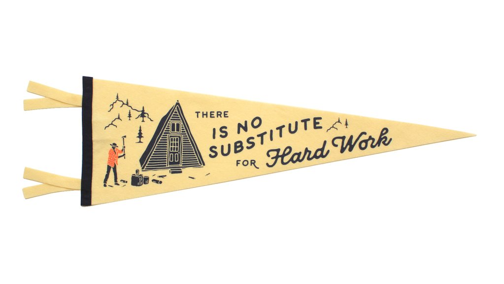 """There is No Substitute for Hard Work"" Pennant Quote Felt Flags, Home Gallery, Wall Art, Classroom Decor"