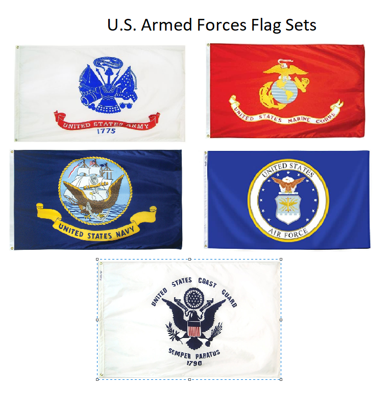 Set of 5 Armed Forces / Military Branches Indoor Polyester Flag Set (2x3ft)