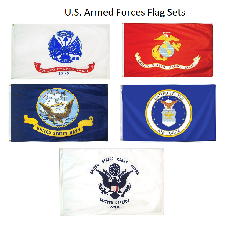 Set of 5 Armed Forces Military Indoor Polyester Flags (3x5ft)