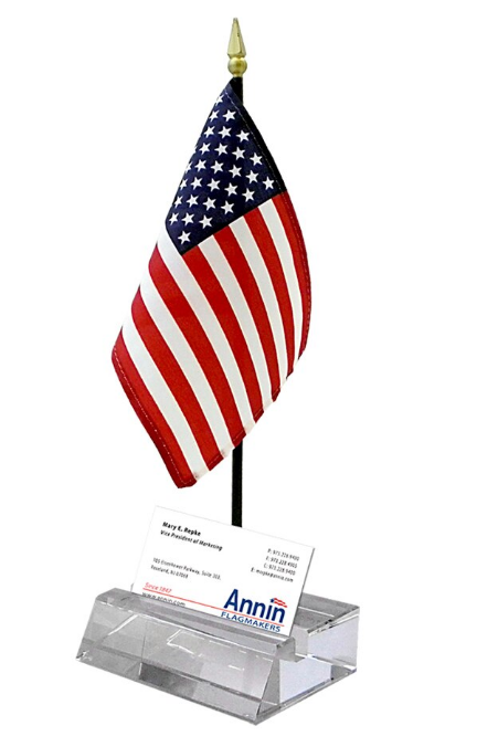 Annin Desk Business Card with U.S Mini 4x5 Flag Holder