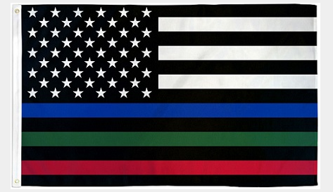 Thin Blue Green Red American Flag 3X5 Feet Polyester Flag