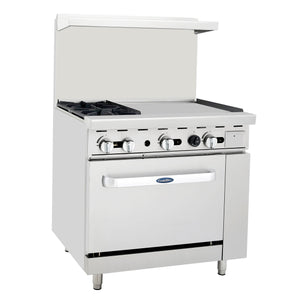"ATO-2B24G CookRite Range, gas, 36""W x 32.6""D x 56.4""H, (2) 25,000 BTU open burners, 24""W griddle on the right,"