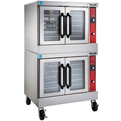 Vulcan VC55GD Natural Gas Convection Oven, Double Stack with Casters