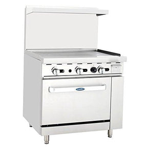 "ATO-36G4B CookRite Range, gas, 60""W x 32.6""D x 56.4""H, (4) 25,000 BTU open burners, 36""W griddle on the left,"